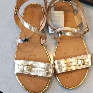 NWT Geox Goldtone Leather Sandals